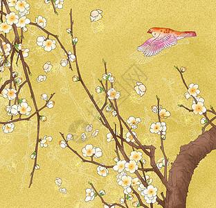 中国风 清新白色梅花小鸟图图片