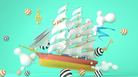 卡通创意帆船场景图片