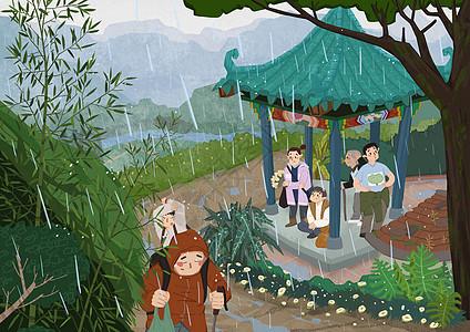 清明山间亭子避雨图片