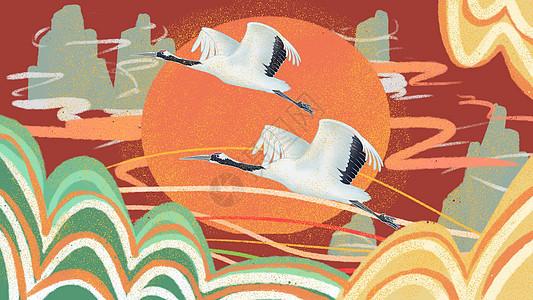 中国风白鹤飞天背景图图片