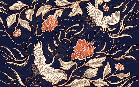 中国风仙鹤牡丹图片