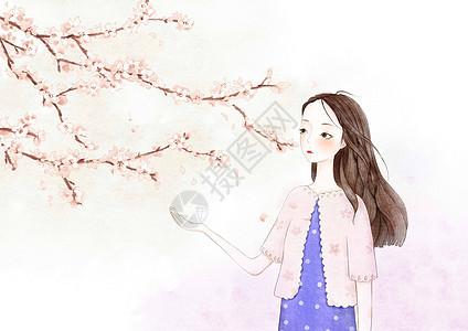 水彩风女孩和桃花图片