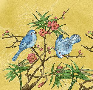 中国风国潮工笔画蓝色小鸟梅花图图片