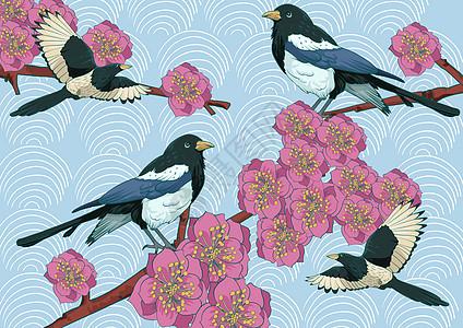 花鸟背景素材喜上梅梢图片