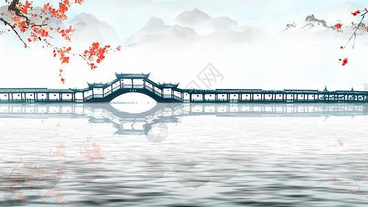 西湖小桥梅花意境图片