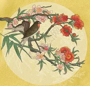中国风国潮工笔桃花小鸟图图片