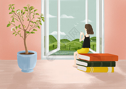 小人国之窗台前喝茶的女孩图片