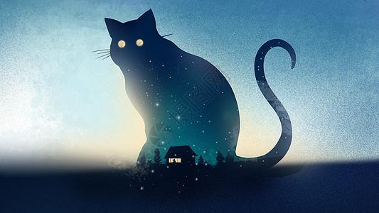 蓝色小清新创意猫咪剪影星空插画图片