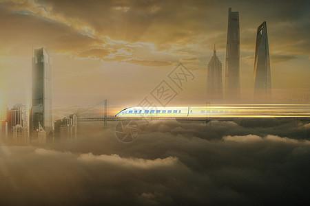 云中的列车图片