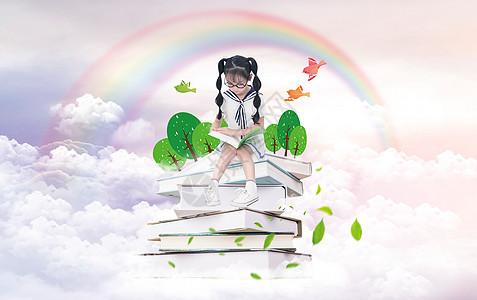 在学习的小女孩图片