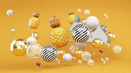 创意漂浮菠萝图片
