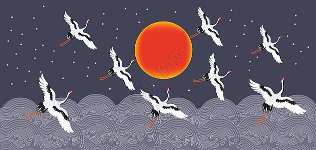 传统仙鹤图案图片