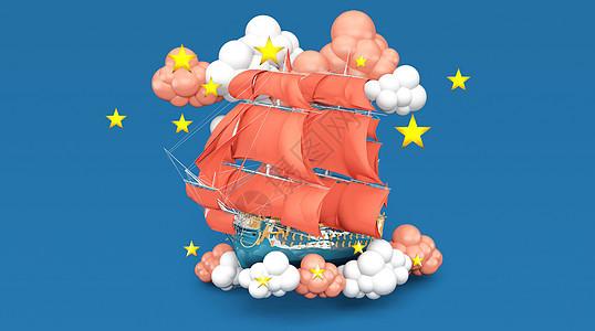云中帆船场景图片