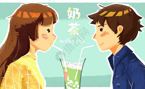 喝奶茶图片