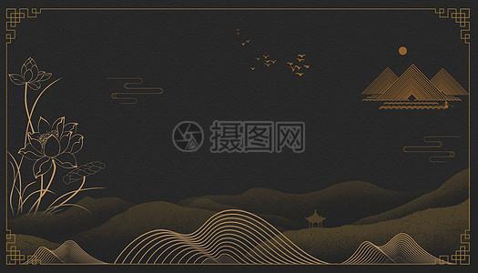 黑金中国风背景图片