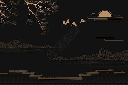 中国风黑金背景图片