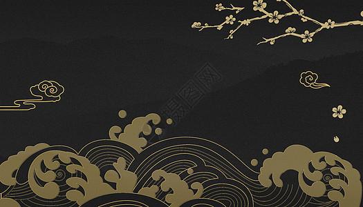 中式黑金背景图片