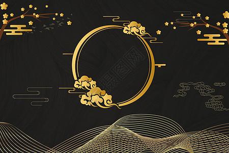 大气黑金中式背景图片