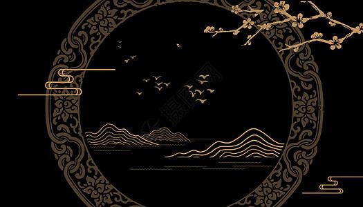 大气复古黑金背景图片