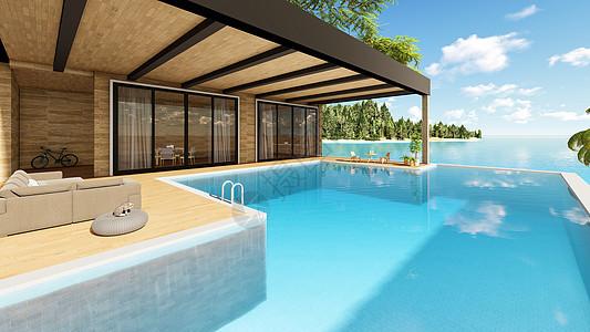 休闲舒适海岛度假游泳别墅图片