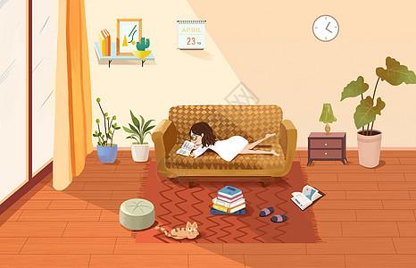 世界读书日之在家看书的小女孩图片