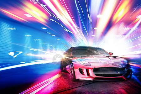 汽车炫彩速度感光效图片