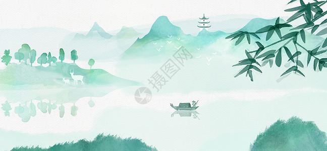 中国风清明水墨山水图片