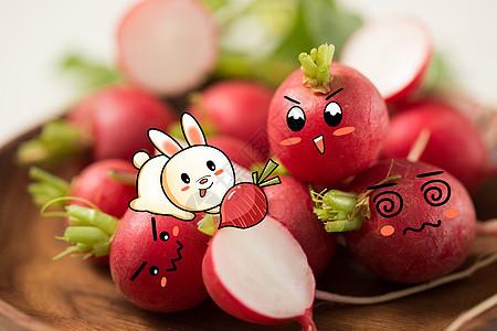 可爱小兔吃萝卜创意摄影插画图片