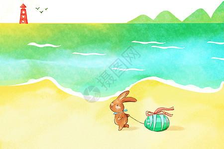 小兔复活节海边旅行图片