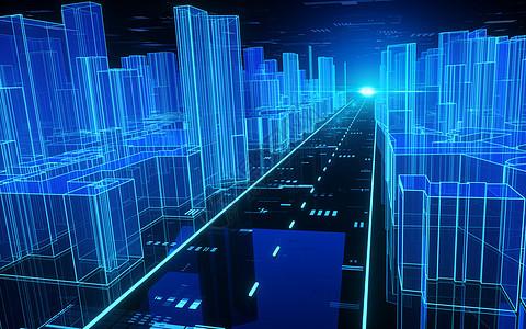 科技光线城市道路建筑空间图片