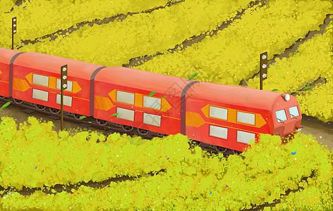 火车驶过油菜花田图片