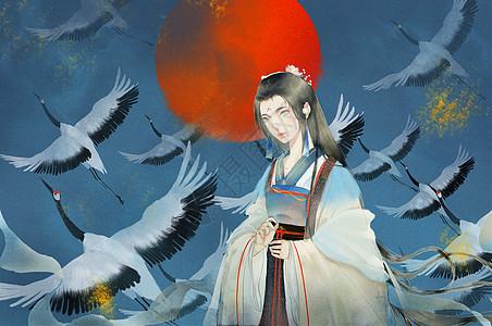 鹤与少女图片
