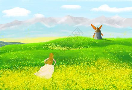 春天油菜花田和女孩图片
