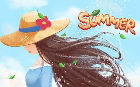 夏日初夏的少女清新插画图片