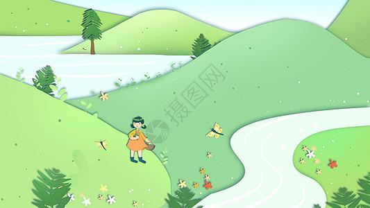 绿色小清新女孩踏青春天剪纸卡通插画图片