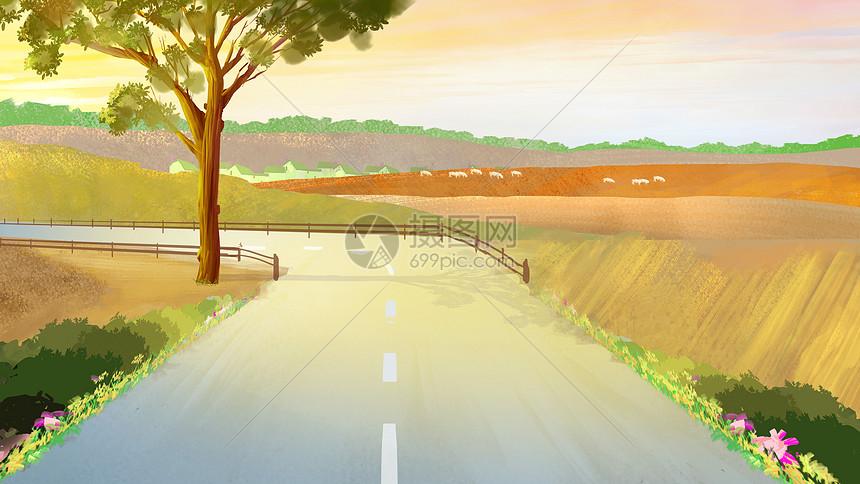 手绘乡村风景图片