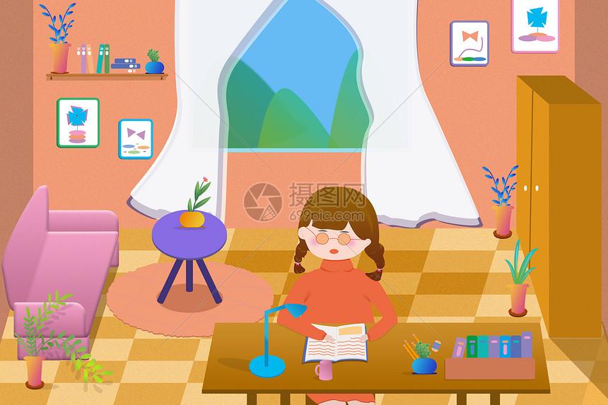 在家学习的女孩图片