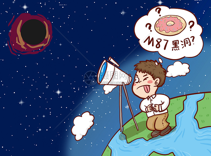 M87黑洞插画图片