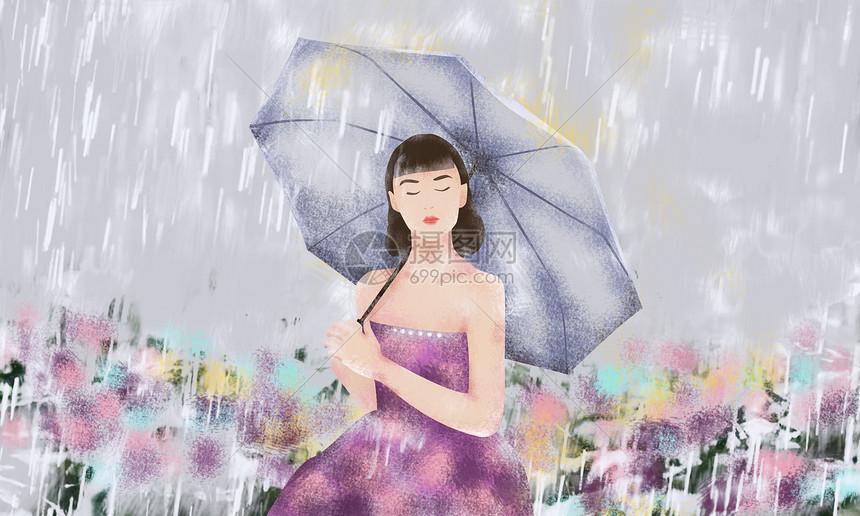雨下花海中打伞的女孩图片