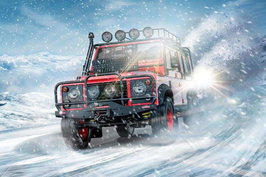 越野汽车在雪地狂飙图片