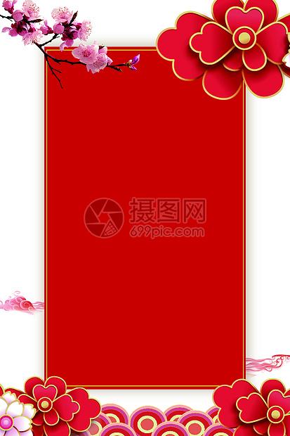大气红色是花卉背景图片