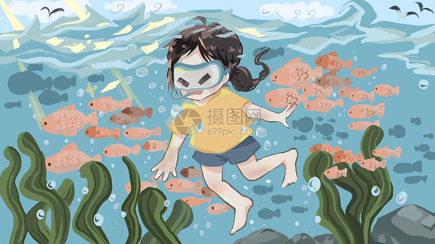 夏日潜水游泳的女孩图片