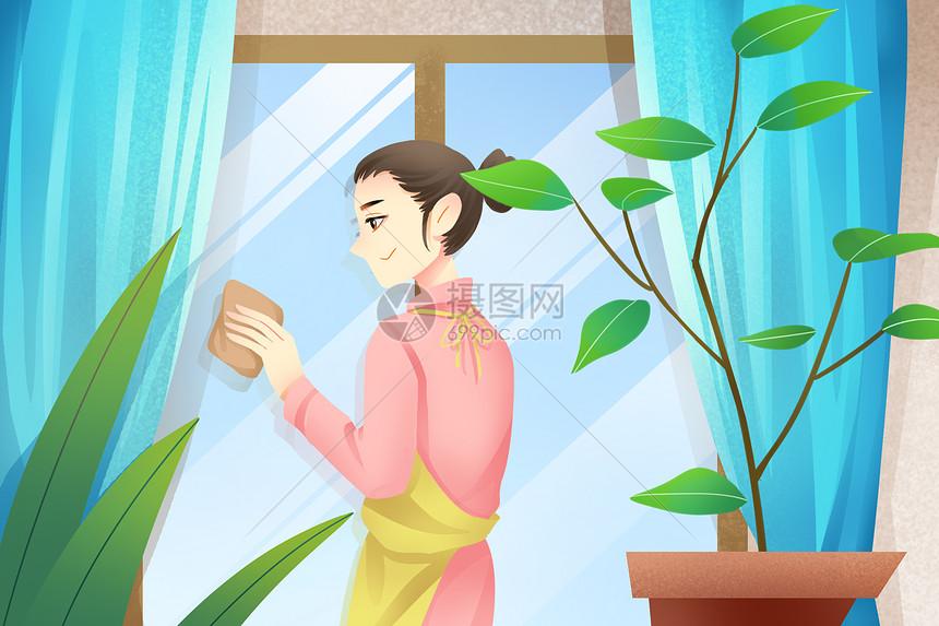 擦窗户的主妇图片