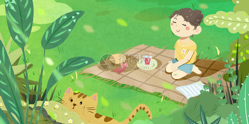 夏至小女孩森林野餐兔图片