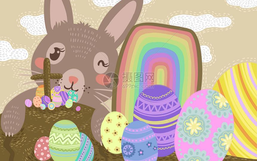 唯美兔子与彩蛋插画图片