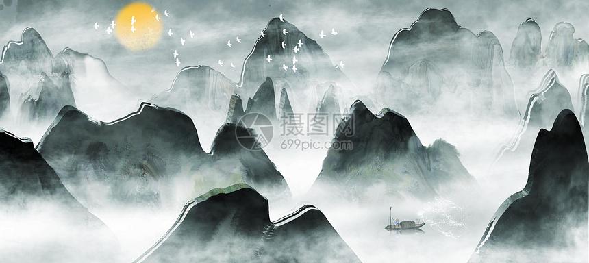 山水背景装饰画图片