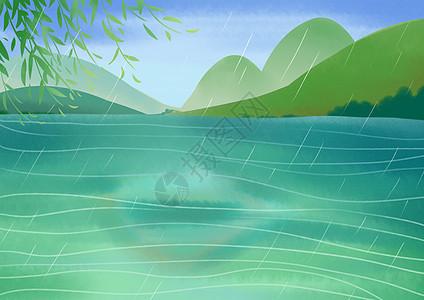 西湖春雨图片