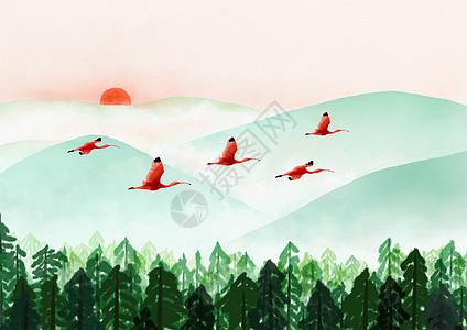 水彩风景背景图--火烈鸟图片