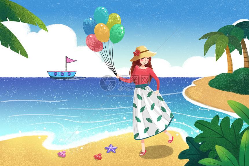 海边沙滩美女插画图片