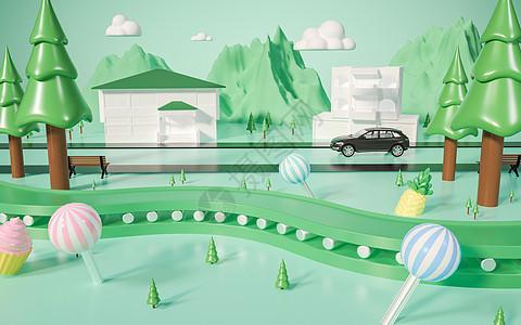 街道树林小场景图片